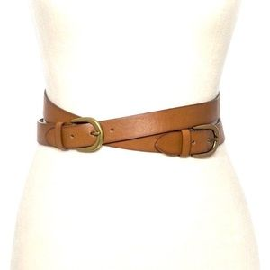 Double Crossed Straps Stretch Belt -Brown